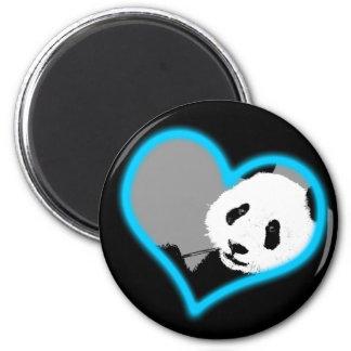 panda love. neon light. 6 cm round magnet