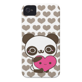 Panda Love Pink Gray Hearts Case-Mate iPhone 4 Cases