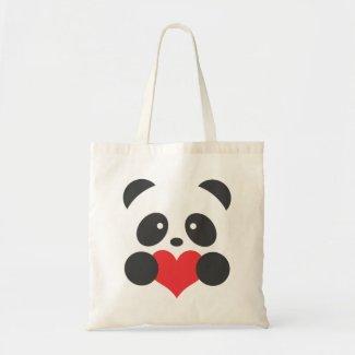 Panda love tote bag
