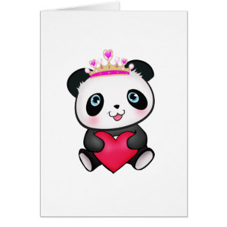 Panda Lover Fan Gift Valentine's Day Heart Present Greeting Card