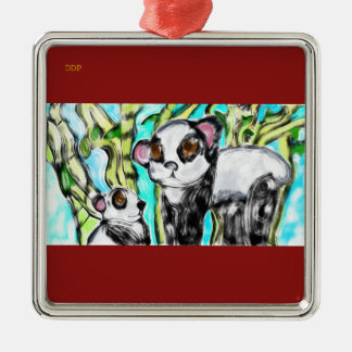 Panda mother and cub christmas ornament