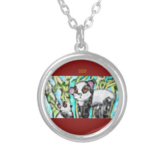 Panda mother and cub silver plated necklace