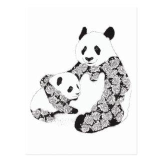 Panda Mother & Baby Cub Illustration Postcard