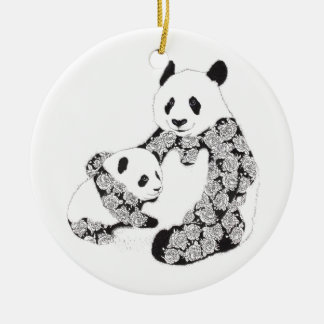 Panda Mother & Baby Cub Round Ceramic Decoration