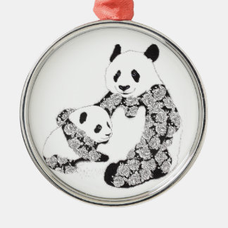 Panda Mother & Baby Cub Silver-Colored Round Decoration