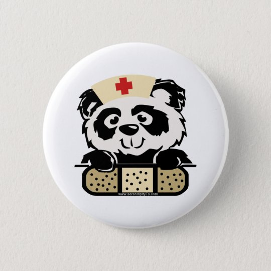 Panda Nurse 6 Cm Round Badge