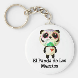 Panda of The Day of The Dead Basic Round Button Key Ring