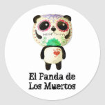 Panda of The Day of The Dead Round Sticker
