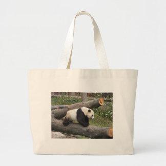 Panda on Log Tote Bags