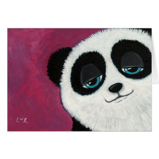 Panda on Pink - Greeting Card