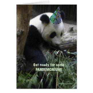 Panda pandemonium birthday party invitation! greeting card