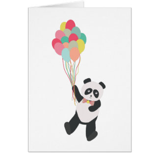 Panda Party - Birthday Panda with Balloons Card