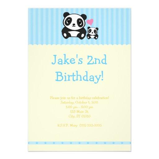 Panda Party Invitation - Blue & Cream