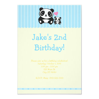 Panda Party Invitation - Blue & Cream
