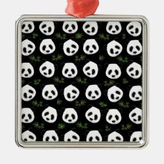 Panda pattern Silver-Colored square decoration