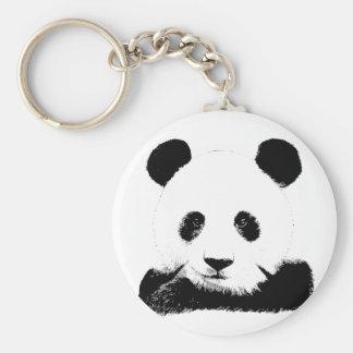 Panda Peeks Out Basic Round Button Key Ring