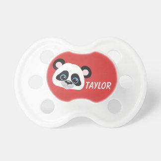 Panda Personalize Red Background Baby Pacifiers