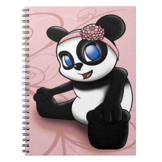 Panda Pink Floral Notebook