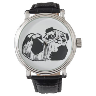 Panda Play Black Vintage Leather Watch