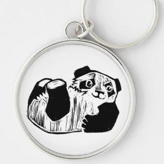 """Panda Play Large (2.125"""") Premium Round Keychain"""