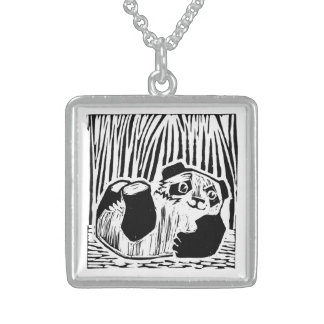 Panda Play Medium Sterling Silver Square Necklace