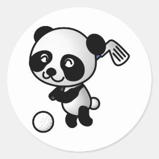 Panda playing golf round sticker