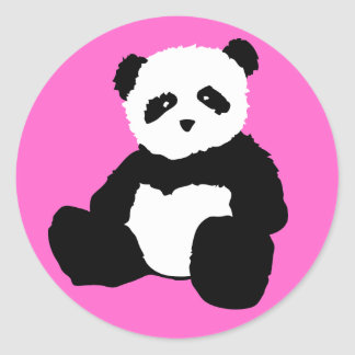 panda plush. classic round sticker
