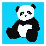 panda plush : colour customisable 13 cm x 13 cm square invitation card