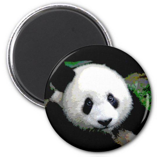 Panda Pop Art 6 Cm Round Magnet