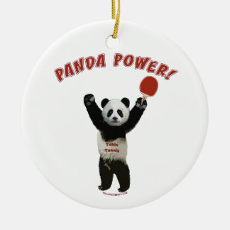 Panda Power Ping Pong Christmas Ornament