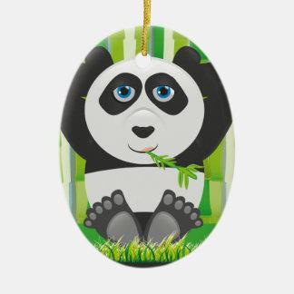 Panda relaxing ceramic oval decoration