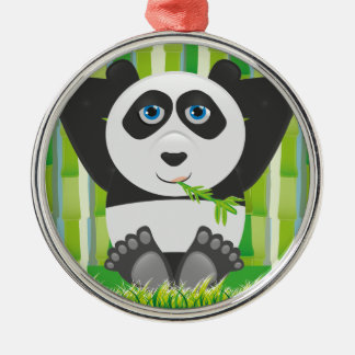 Panda relaxing Silver-Colored round decoration