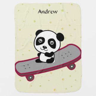 Panda riding on skateboard baby blanket