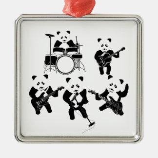 Panda Rock Band Silver-Colored Square Decoration