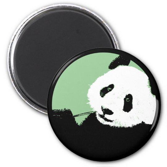 panda. seagreen circle. 6 cm round magnet