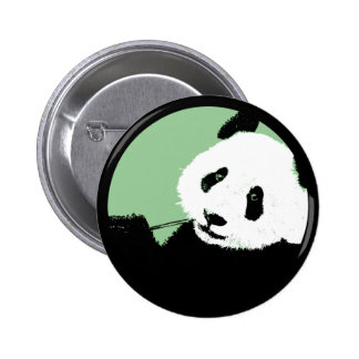panda. seagreen circle. 6 cm round badge