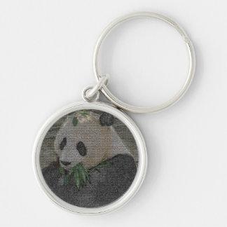 Panda Silver-Colored Round Key Ring