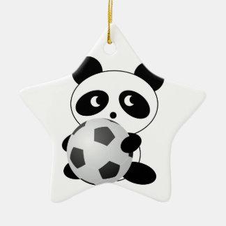 Panda soccer christmas ornament