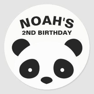 Panda Stickers, Black and White Birthday Classic Round Sticker