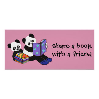 Panda Storytime Bookmarks Customized Rack Card