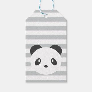 Panda striped gift tags