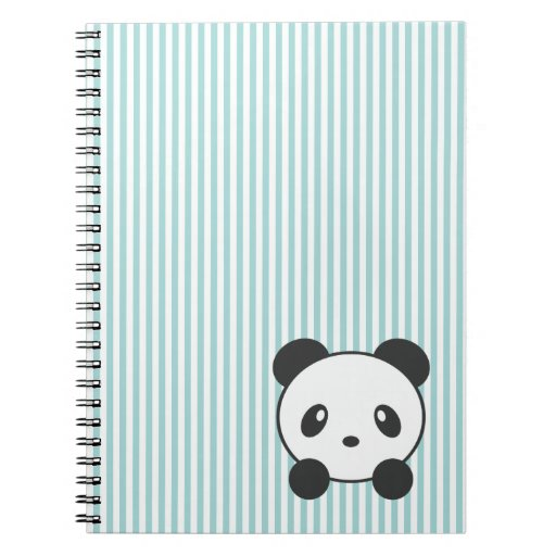 Panda striped spiral notebook