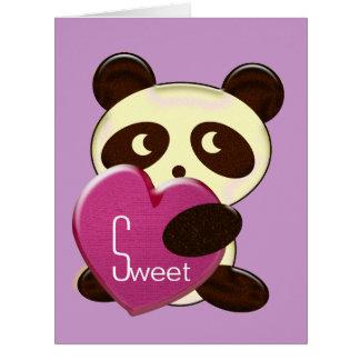 Panda sweet heart large greeting card