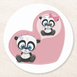 Panda Teddy Bear Pink Heart Wedding Bridal Shower Round Paper Coaster