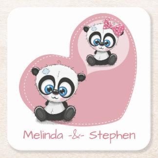Panda Teddy Bear Pink Heart Wedding Bridal Shower Square Paper Coaster