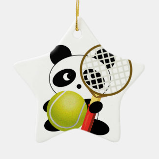 Panda tennis christmas ornament