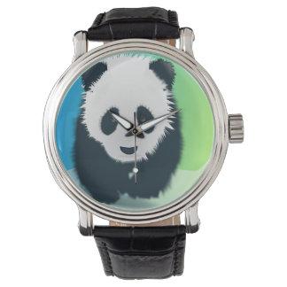 Panda Vintage Leather Strap Watch