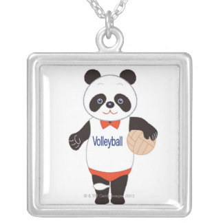 Panda Volleyball Player Silver Plated Necklace