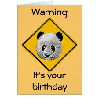 Panda Warning Cartoon Sketch Birthday Card