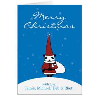 Panda wearing Santa Claus costume and standing Card